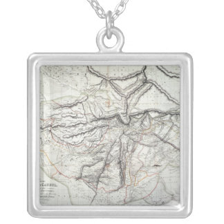 A Map of the Kingdom of Kabul Silver Plated Necklace