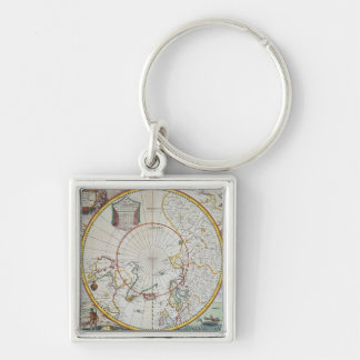 A Map of the North Pole Silver-Colored Square Key Ring
