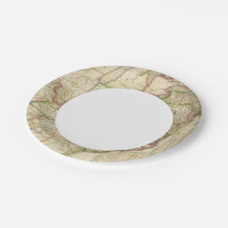 A Map Of The Roads, Canals And Steam Boat Paper Plate