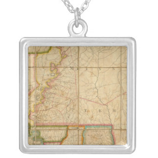 A Map of the State of Louisiana Silver Plated Necklace