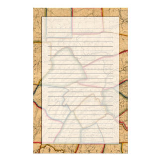 A Map Of The State Of Pennsylvania Customized Stationery
