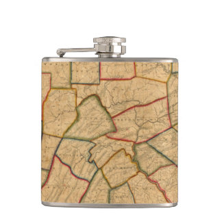 A Map Of The State Of Pennsylvania Hip Flask