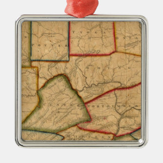 A Map Of The State Of Pennsylvania Silver-Colored Square Decoration