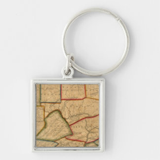 A Map Of The State Of Pennsylvania Silver-Colored Square Key Ring