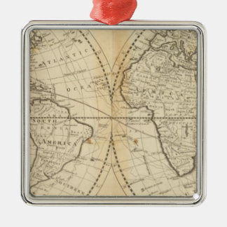 A Map of the World Silver-Colored Square Decoration
