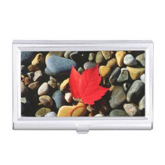 A Maple leaf on a Rock Background Business Card Holder