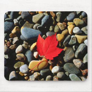 A Maple leaf on a Rock Background Mouse Mat