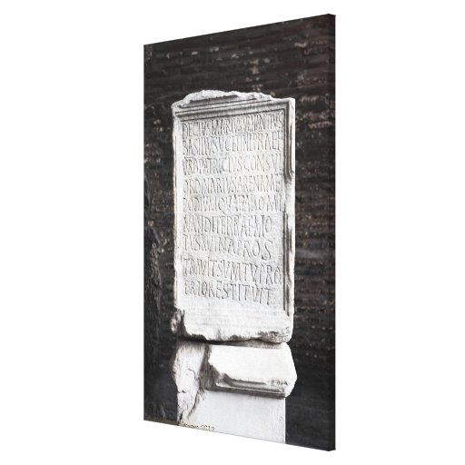A marble Tablet from inside  The Colosseum or Stretched Canvas Print