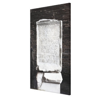 A marble Tablet from inside  The Colosseum or Gallery Wrapped Canvas