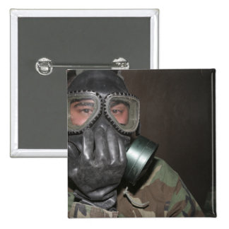 A Marine clears his gas mask 15 Cm Square Badge