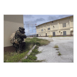 A Marine posts security Photo Print