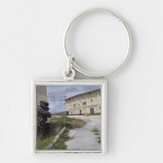 A Marine posts security Silver-Colored Square Key Ring