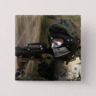A Marine provides security 15 Cm Square Badge