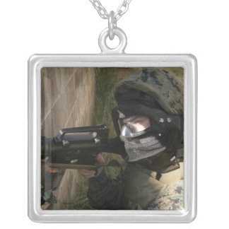 A Marine provides security Silver Plated Necklace
