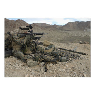 A Marine rifleman provides security Photo Print