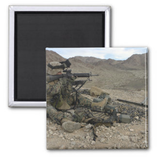 A Marine rifleman provides security Square Magnet