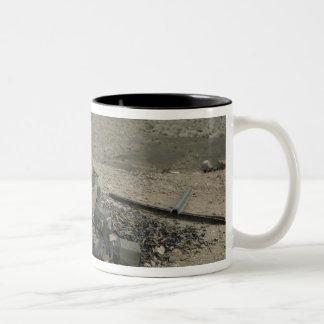 A Marine rifleman provides security Two-Tone Coffee Mug