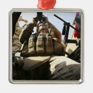 A marine rocks his M-2 50-caliber machine gun Silver-Colored Square Decoration