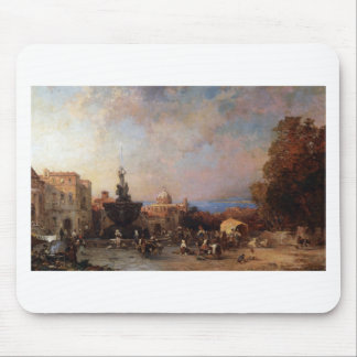 A Market in Naples by Franz Richard Unterberger Mouse Pad