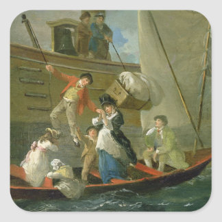 A Married Sailor's Adieu, c.1800 (oil on panel) Square Sticker
