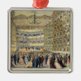 A Masked Ball at the Fenice Theatre, Venice, 19th Silver-Colored Square Decoration