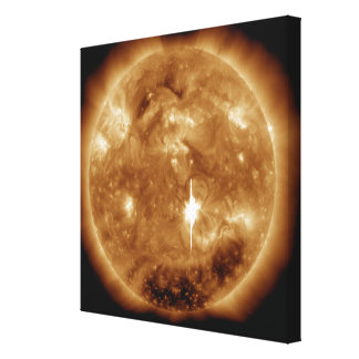 A massive X-class solar flare erupts on the Sun Stretched Canvas Print