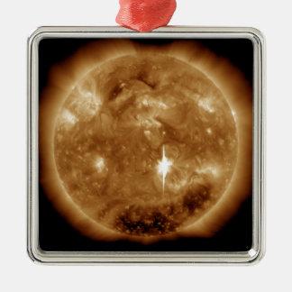 A massive X-class solar flare erupts on the Sun Silver-Colored Square Decoration