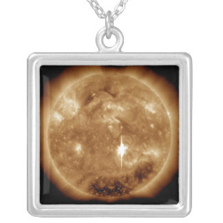 A massive X-class solar flare erupts on the Sun Silver Plated Necklace