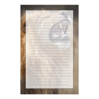 A mature male lion (Panthera leo) in the Savuti Stationery