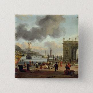 A Mediterranean Harbour Scene 15 Cm Square Badge