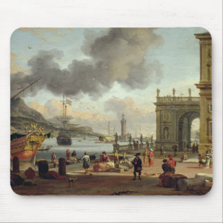 A Mediterranean Harbour Scene Mouse Pad