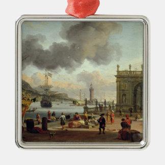 A Mediterranean Harbour Scene Silver-Colored Square Decoration