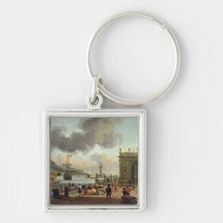 A Mediterranean Harbour Scene Silver-Colored Square Key Ring