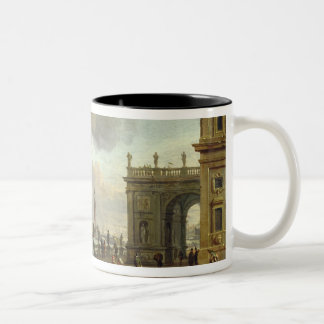 A Mediterranean Harbour Scene Two-Tone Coffee Mug