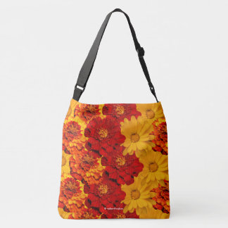 A Medley of Red Yellow and Orange Marigolds Crossbody Bag