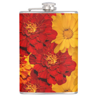 A Medley of Red Yellow and Orange Marigolds Flasks