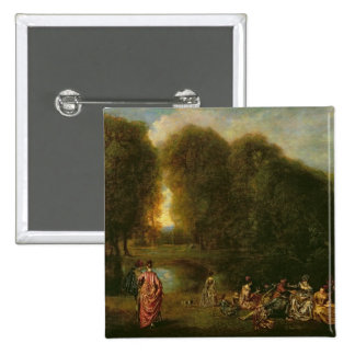 A Meeting in a Park 15 Cm Square Badge
