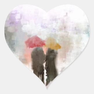 A Meeting in the Rain Heart Sticker
