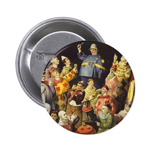 A MEETING OF CLOWNS Office Humor Circus Act 3 ring Pinback Button