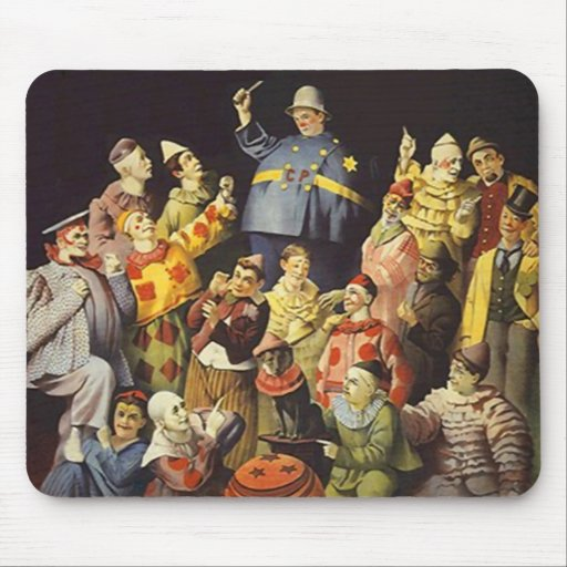 A MEETING OF CLOWNS Office Humor Circus Act 3 ring Mouse Pad