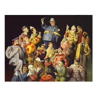 A MEETING OF CLOWNS Office Humor Circus Act 3 ring Postcard