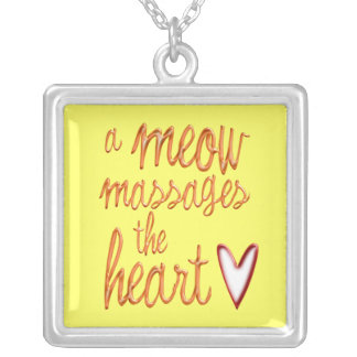 A meow massages the heart. personalized necklace