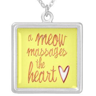A meow massages the heart. square pendant necklace