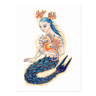 A Mermaid and her Sea Horse Postcard