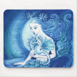 A Mermaid and her Seahorse Mouse Mat