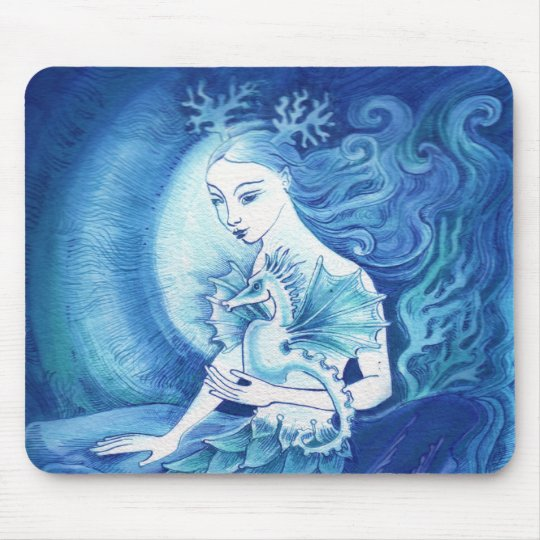 A Mermaid and her Seahorse Mouse Pad