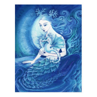 A Mermaid and her Seahorse Postcard