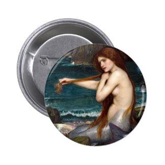 A Mermaid, Waterhouse 6 Cm Round Badge