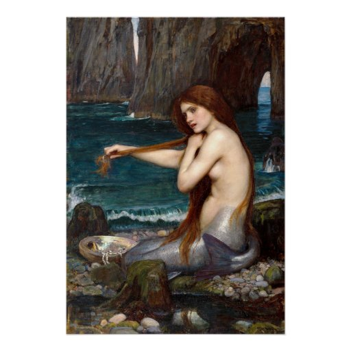 A Mermaid, Waterhouse Print