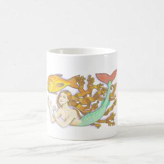 A mermaid with goldfish cup. coffee mug